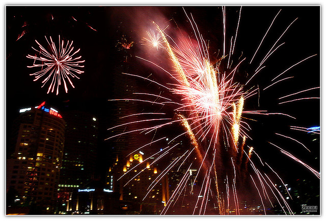 fireworks at fed square